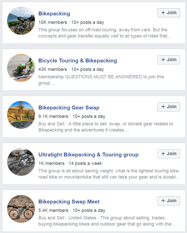 Bikepacking niche on Facebook