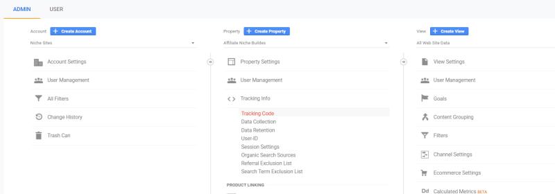 Navigate to tracking info in GA admin