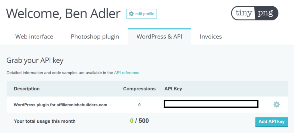 Getting your TinyPNG API Key